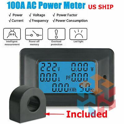 100a Ac Digital Power Kwh Watt Meter Volt Amp Voltmeter Ammeter Open Close