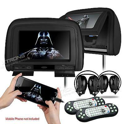 "Black 2x HDMI 9"" HD Car Headrest Monitor 1080P Pillow DVD Player Game Headsets"