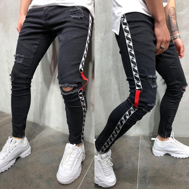 Men Slim Skinny Jeans Destroyed Distressed Ripped Frayed Den