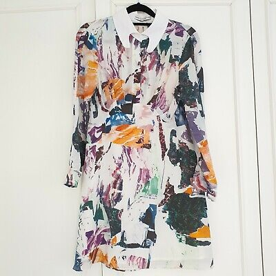 Mary Katrantzou S XS Silk Long Sleeve Print Dress White Longline Blouse