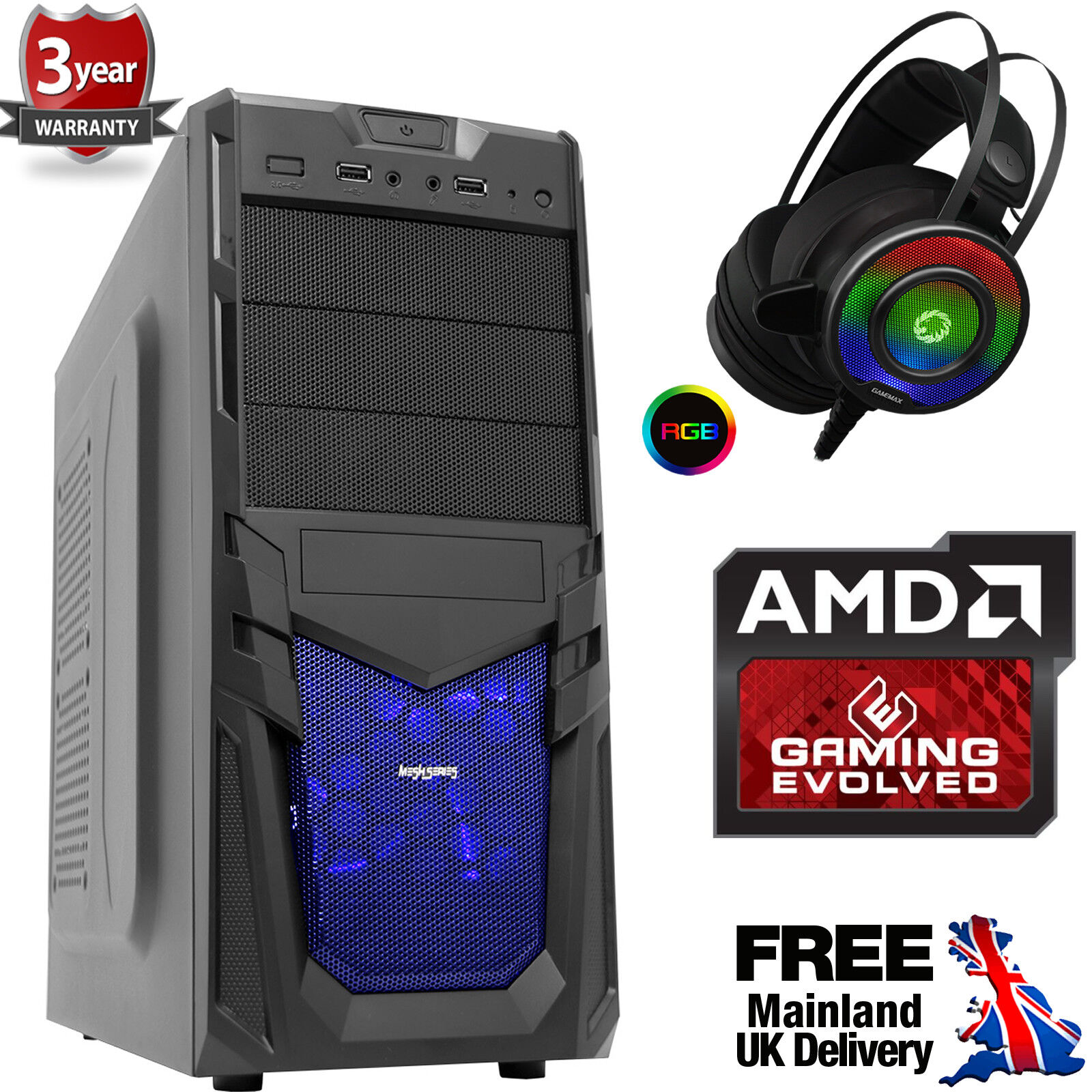 Computer Games - Mega Fast AMD Quad Core 4.2 Desktop Gaming PC Computer 8GB 1TB RGB Headset Ven