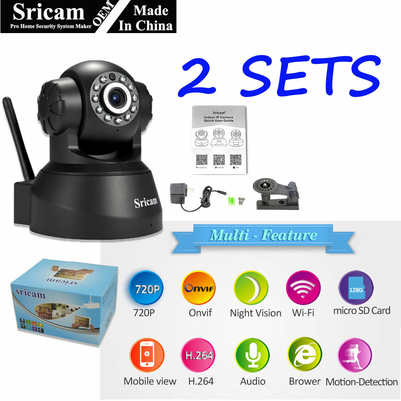Details about 2Pack Sricam 1MP 720P Wireless IP Camera WiFi Security Night  Vision Cam USA