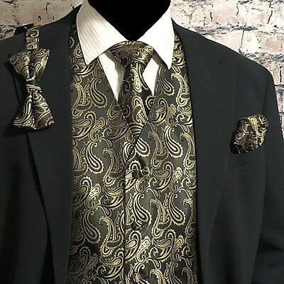 Gold / BLACK Tuxedo Suit Dress Vest Waistcoat & Bow tie & Necktie and Hankie Set