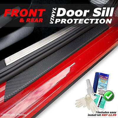 Nissan Qashqai +2 2008+ 4PC Black Carbon Vinyl Door Sill Protectors + KIT!