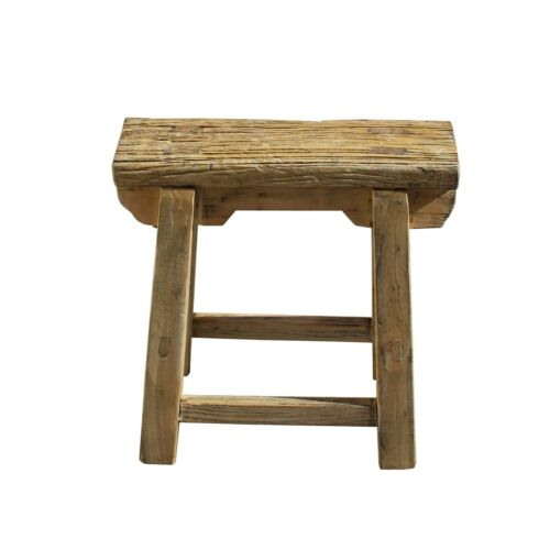 Chinese Village Raw Wood Rough Finish Accent Single Sitting Stool cs5605