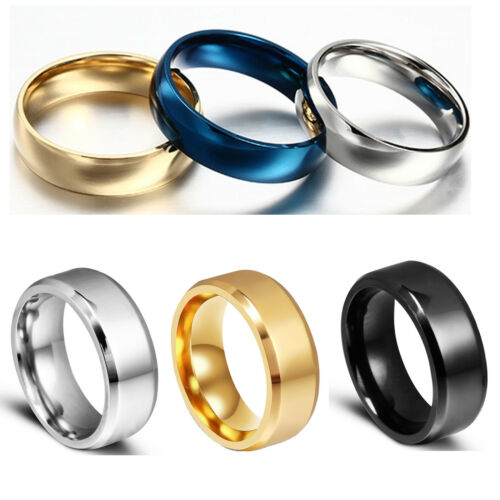 Men Women Titanium Steel Band Ring Comfort Fit Plain Engagement Wedding Gold