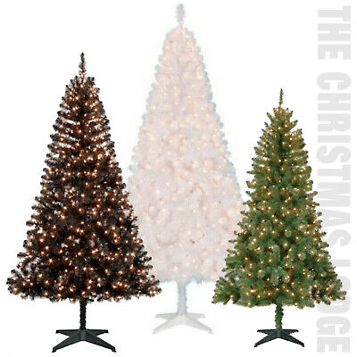CLASSIC PRE-LIT ARTIFICAL CHRISTMAS TREES / WHITE / GREEN / BLACK / YOUR CHOICE! ()