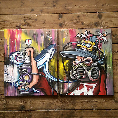 HOAKSER GRAFFITI CHARACTER LARGE ORIGINAL ART PAINTING CANVAS SPRAY PAINT STREET