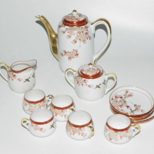 Vintage Kutani Eggshell Porcelain Demitasse Set tea set Yokohama Hotel anniv