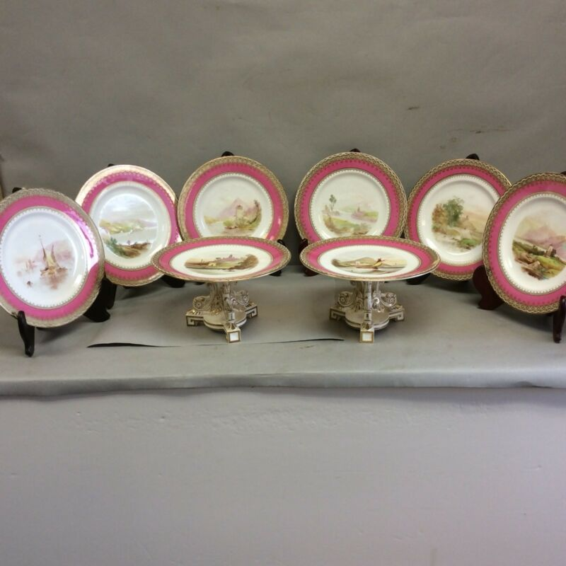 8 Piece Set Hand Painted Scenic Continental Plates/Tazzas