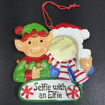 """Selfie With An Elfie"" Holiday photo frame Christmas ornament Elf Painted"