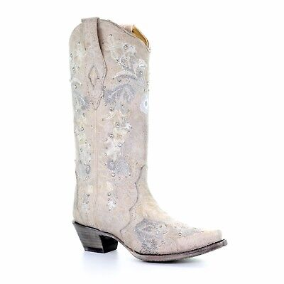 Corral Ladies White Floral Embroidery & Crystals Wedding Boots A3521](Cowboy Boot Wedding)