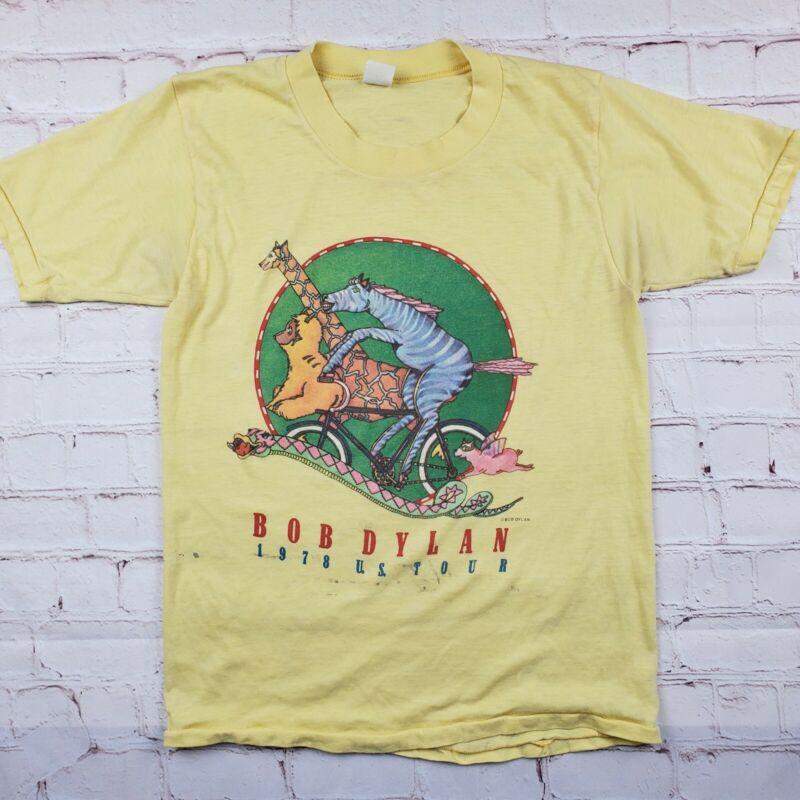 Vintage BOB DYLAN 1978 Tour SHIRT ORIGINAL CONCERT Mens Medium Yellow