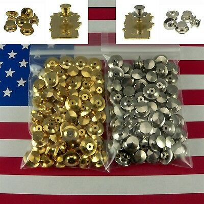 QTY 10-100 Locking Flathead Lapel Pin Back Clutch Clasp Fastener Military Sports