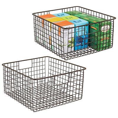 Wire Storage Bins (mDesign Household Metal Wire Storage Organizer Bins Baskets with Handles)