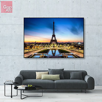 Canvas print wall art big poster paris eiffel tower france sunset skyline view a