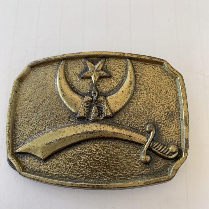 "Masonic Freemasonry Belt Buckle 3-1/4"" X 2-1/2"" Freemason Vintage"
