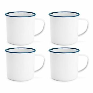 4x White Enamel Mug Retro Traditional Camping Outdoor Coffee Tea Cup - 350ml