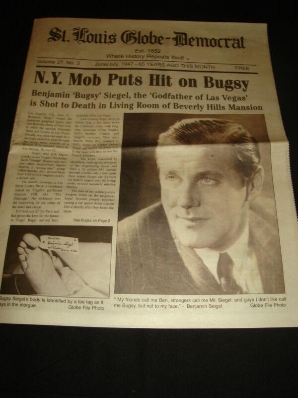 BUGSY SIEGEL MURDERED 1947 ERA  HISTORIC NEWSPAPER
