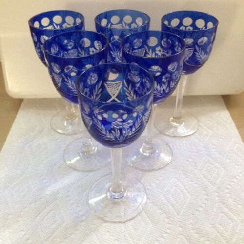 6 - BLUE - CUT TO CLEAR CRYSTAL - SHERRY GLASSES ...../