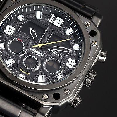 INFANTRY Mens Digital Quartz Wrist Watch Date Chronograph Black Stainless Steel