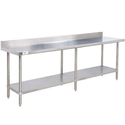 24 X 96 Stainless Steel Commercial Work Prep Table 4 Backsplash Undershelf