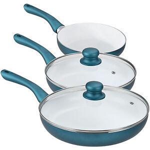 [pro.tec]® Keramik Pfannen Set 5-tlg. Smaragd Grün Induktion Grill Brat Pfanne