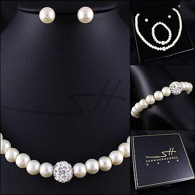 Perlen-Set: Halskette+Armband+Ohrstecker, Weißgold pl, Swarovski Elements, - Perle Halskette Set