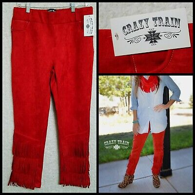 NWT Crazy Train Red Cowgirl Western Fringe Faux Suede Pants Velvet Stretch 2XL