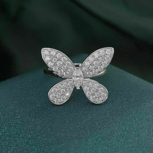 Butterfly Engagement & Wedding Spectacular Ring 1 Ct VVS1 Diamond 14K White Gold