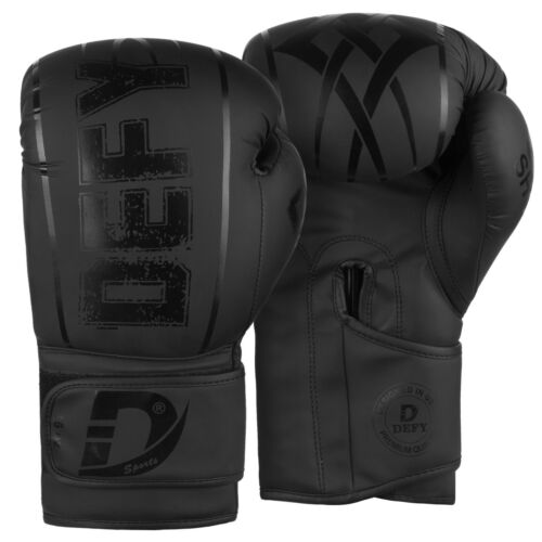 DEFY® Synthetic Leather Boxing Glove Thai Punch Training Sparring Gloves Black