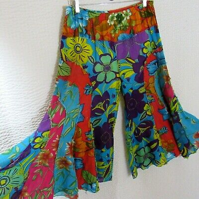 Bold Extreme Wide Leg Pants Colorful Fun Crop Lightweight Cotton L Swimcover