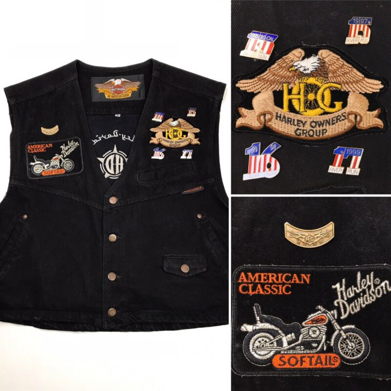 Vintage Harley Davidson Black Denim Biker Vest Size Large Patches Pins Made USA