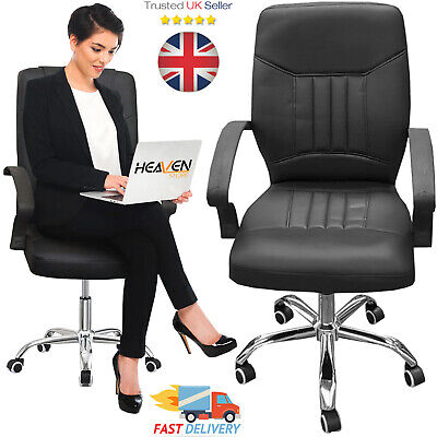 Manager Executive Luxury Computer Office Chair FAUX Leather Adjustable Swivel UK