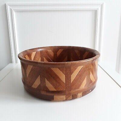 VINTAGE Wooden Striped Patterned Century Retro Bowl Plant Pot Holder 21cm x 9cm