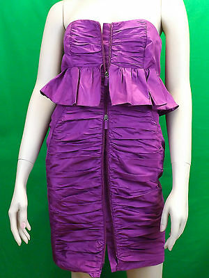NWT MIU MIU PRADA PURPLE ZIP FRONT BUSTIER MINI COCKTAIL EVENING DRESS 44 8