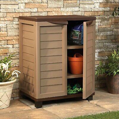 Garden Storage Box 273L Waterproof Outdoor Cupboard Shelf Plastic Chest Cabinet