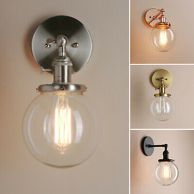 "5.9"" Vintage Sconce LAMP Socket Globe Glass Shade Wall Lamp For Loft Home Decor"
