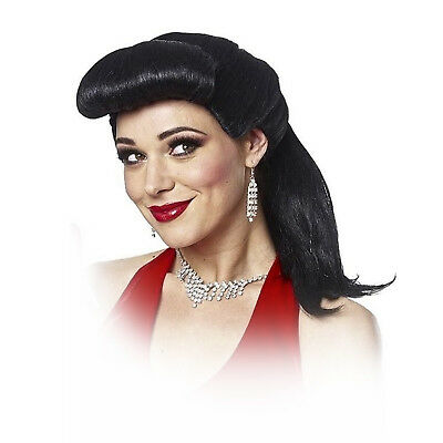 1950s Halloween Wigs (Adult Women's Betty 1950 Pin Up Gatsby Girl Halloween Cosplay Costume Black)