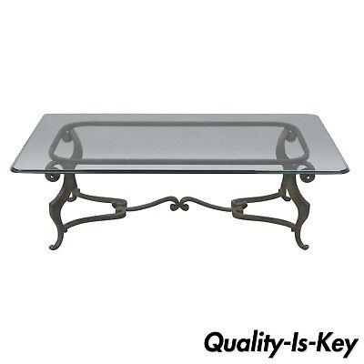 Glass Top Metal Finish - Heavy Iron Metal Scroll Decorator Coffee Table Glass Top Distressed Finish 54