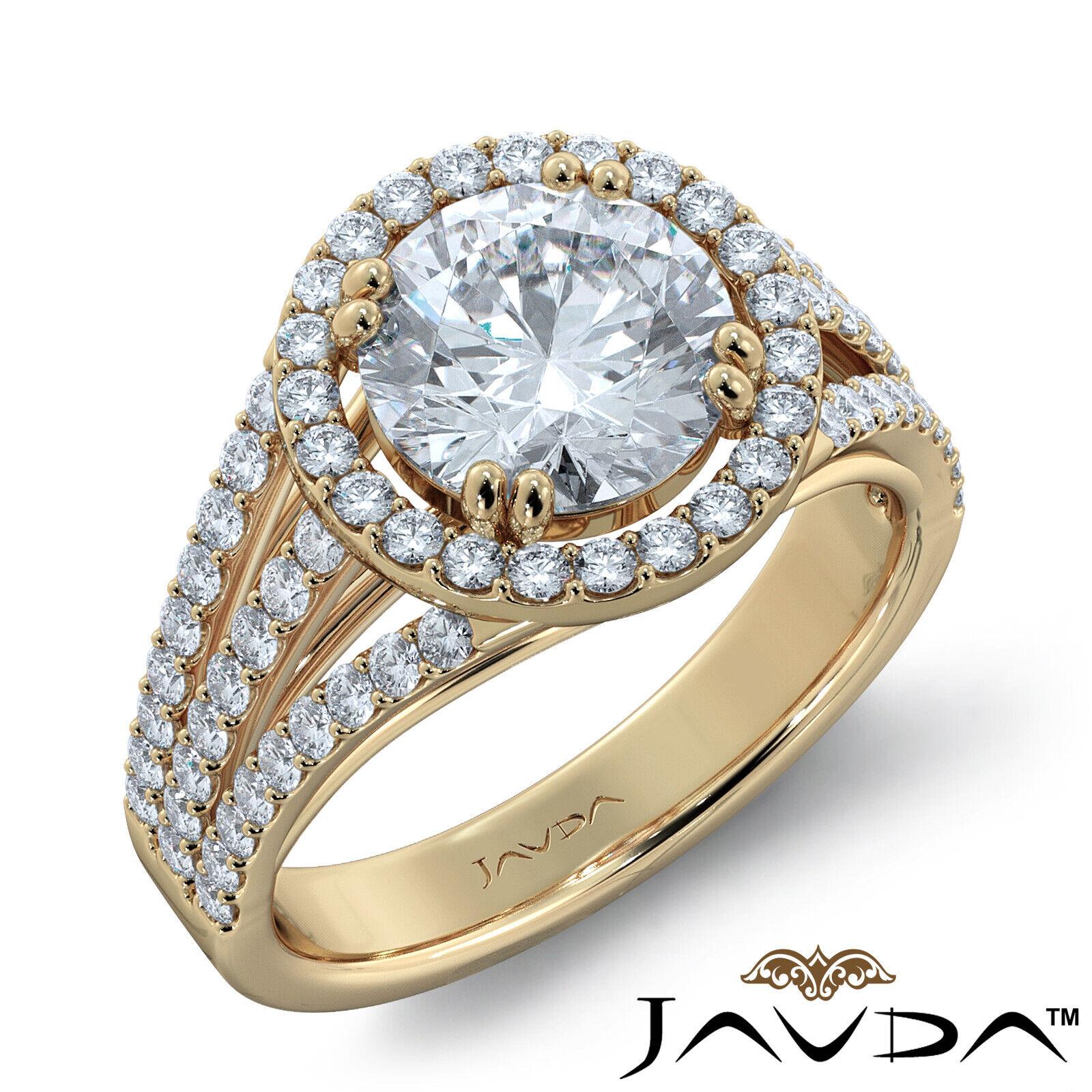 2ct Trio Shank Halo Sidestone Round Diamond Engagement Ring GIA E-VS2 White Gold 8