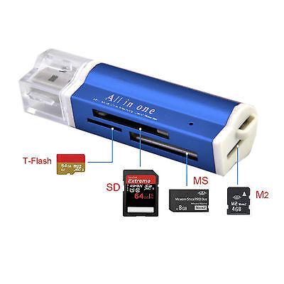 Kartenlesegerät Kartenleser Card Reader Micro SD MMC M2 USB Stick in blau online kaufen