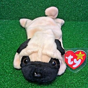 5a197711bd8 Ty Beanie Baby 1996 Pugsly The Pug RARE RETIRED PVC Plush Toy With Canadian  TUSH