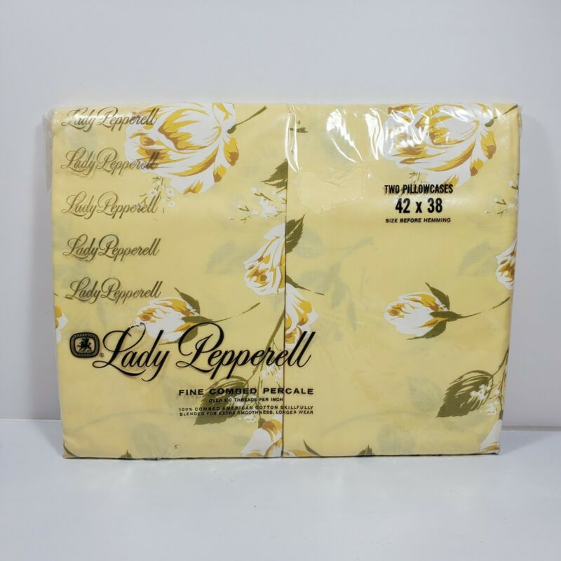VTG Lady Pepperell Fine Combed Percale Yellow White Rose Pillow Case Set NOS