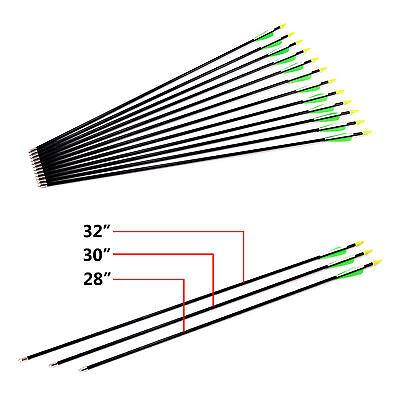 Archery Fiberglass Arrows 28  30  32  Hunting Broadhead Recurve   Compound Bow