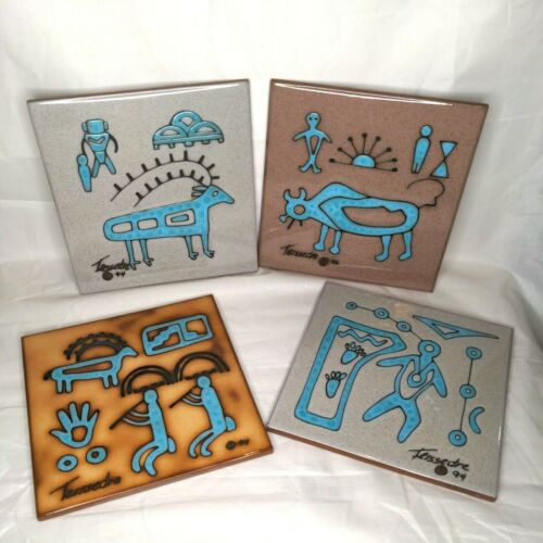 Set Of 4 Cleo Teissedre Ceramic Tile Trivet Southwestern Native American EUC