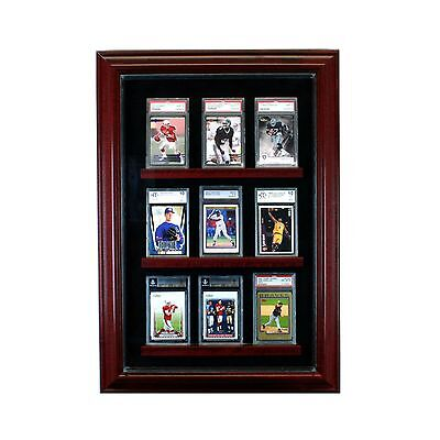 9 Graded Baseball Card Cabinet Style Display Case Glass Cherry w/ Black Suede  Baseball Cabinet Style Display Case