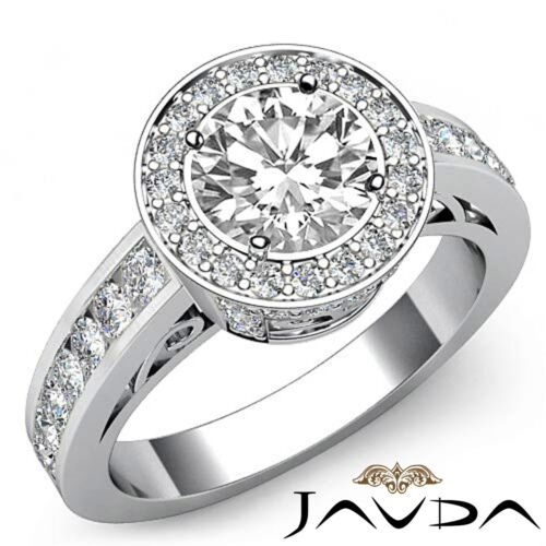 1.8ct Round Diamond Engagement Halo Pave Filigree Ring GIA F VVS2 14k White Gold