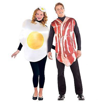 2 X Erwachsene Herren Damen Frühstück Freunde Bacon und Ei Paar Maskenkostüm (Damen X Herren Kostüm)