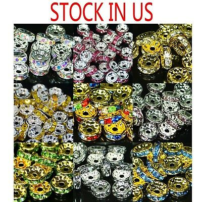 Crystal Spacer - 100pcs Swarovski Czech Crystal Rhinestone Rondelle Spacer Beads 4,5,6,8,10mm